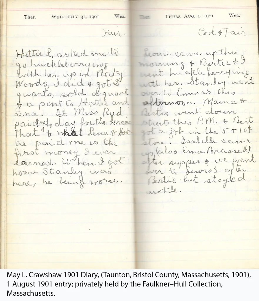 ay L. Crawshaw 1901 Diary, Taunton, Bristol County, Massachusetts, 1 Aug 1901 entry