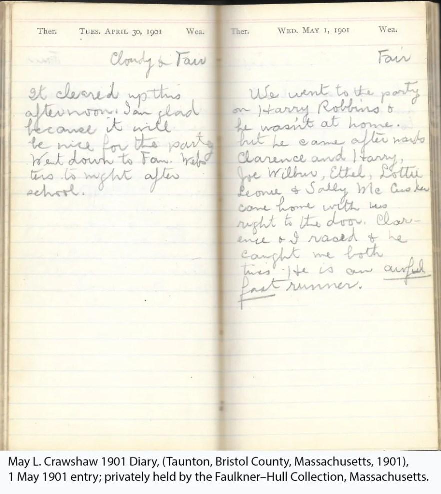 May L. Crawshaw 1901 Diary, Taunton, Bristol County, Massachusetts, 1 May 1901 entry