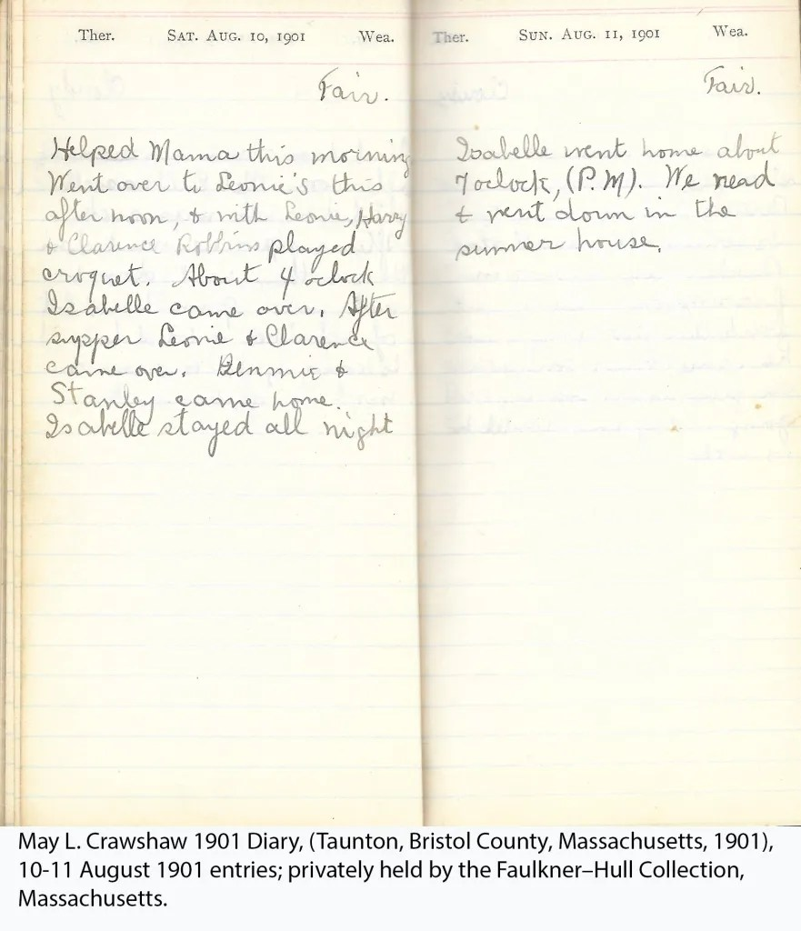 May L. Crawshaw 1901 Diary, Taunton, Bristol County, Massachusetts, 10-11 Aug 1901 entries