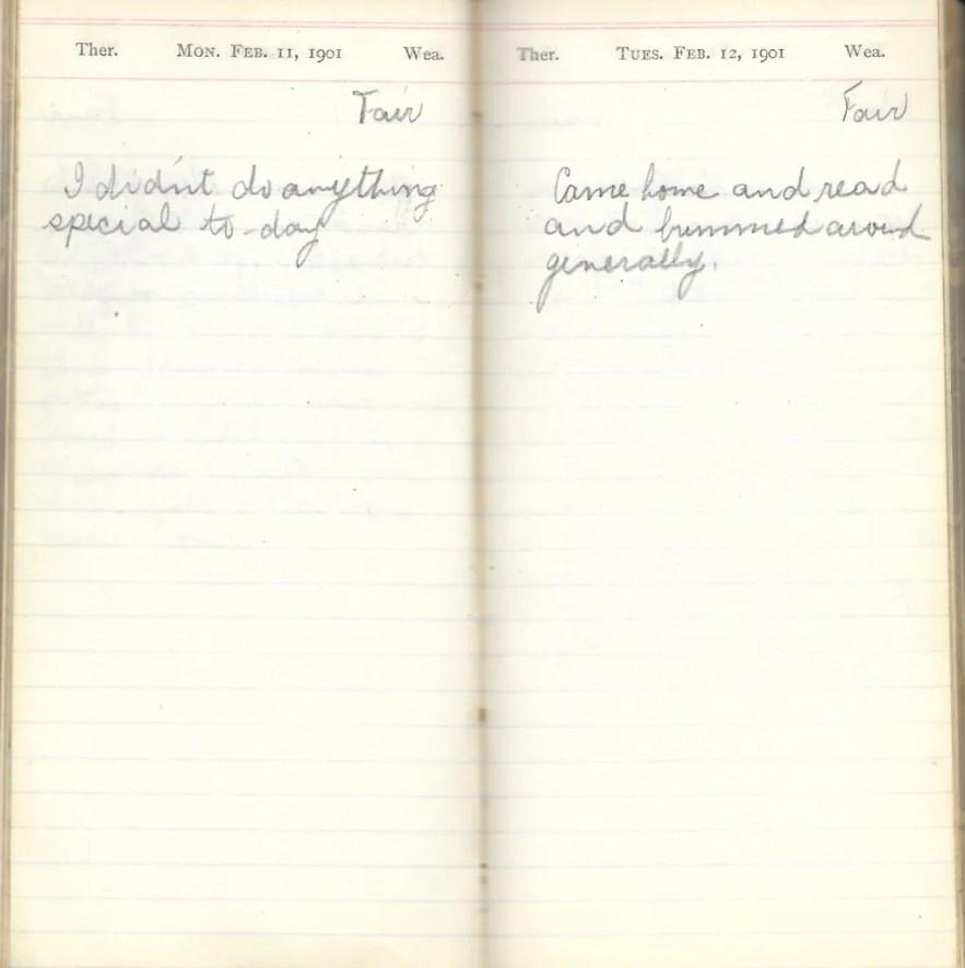May L. Crawshaw 1901 Diary, Taunton, Bristol County, Massachusetts, 11-12 Feb 1901 entries