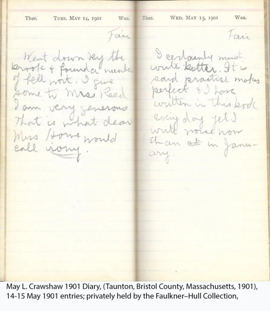 May L. Crawshaw 1901 Diary, Taunton, Bristol County, Massachusetts, 14-15 May 1901 entries