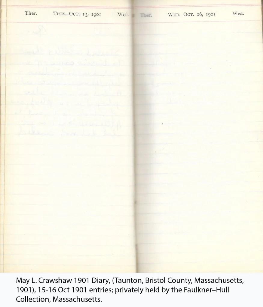 May L. Crawshaw 1901 Diary, Taunton, Bristol County, Massachusetts, 15-16 Oct 1901 entries