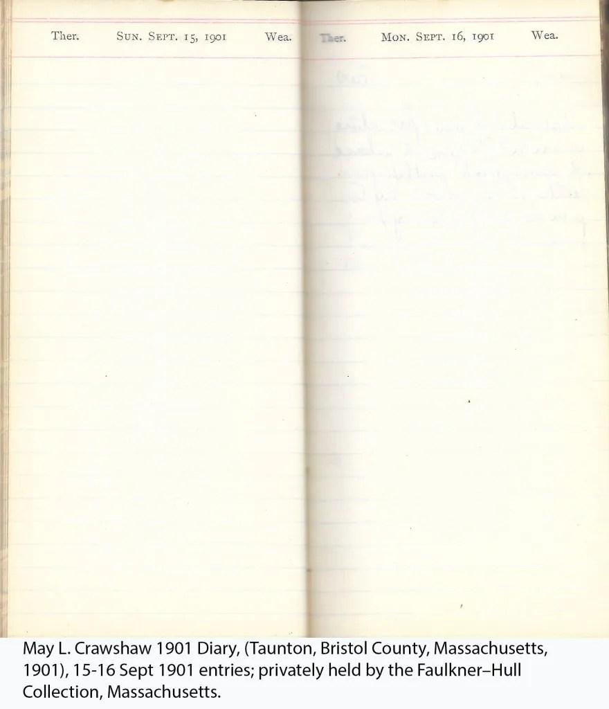 May L. Crawshaw 1901 Diary, Taunton, Bristol County, Massachusetts, 15-16 Sept 1901 entries