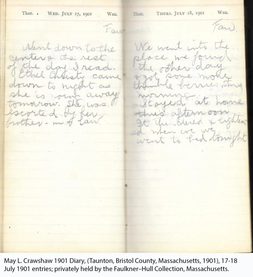 May L. Crawshaw 1901 Diary, Taunton, Bristol County, Massachusetts, 17-18 July 1901 entries