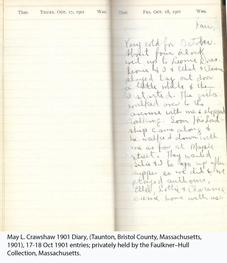 May L. Crawshaw 1901 Diary, Taunton, Bristol County, Massachusetts, 17-18 Oct 1901 entries