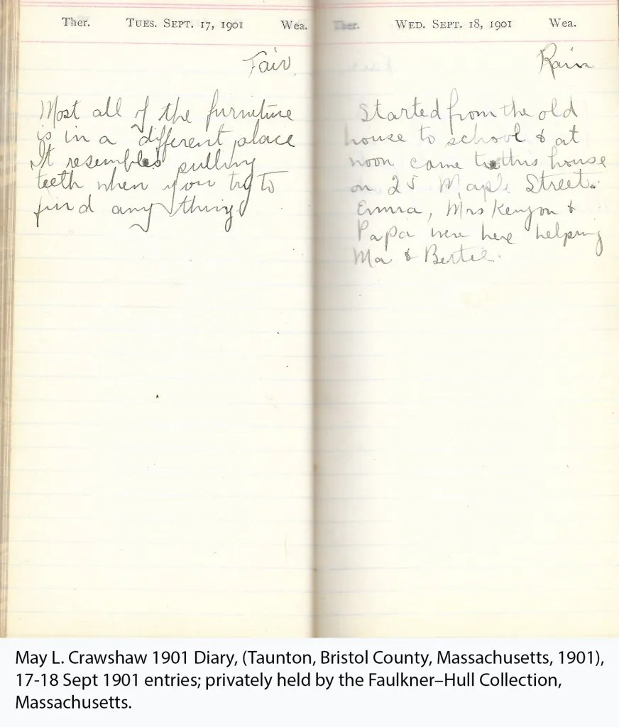 May L. Crawshaw 1901 Diary, Taunton, Bristol County, Massachusetts, 17-18 Sept 1901 entries
