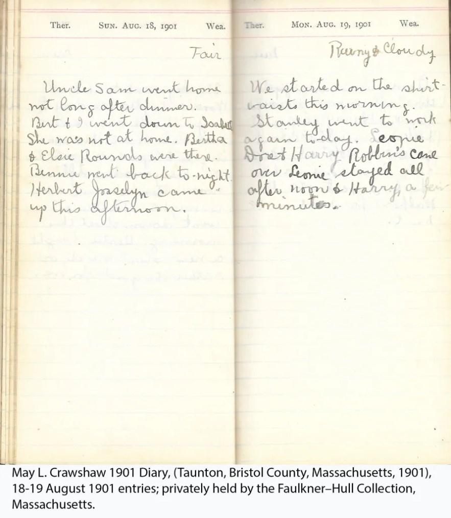 May L. Crawshaw 1901 Diary, Taunton, Bristol County, Massachusetts, 18-19 Aug 1901 entries