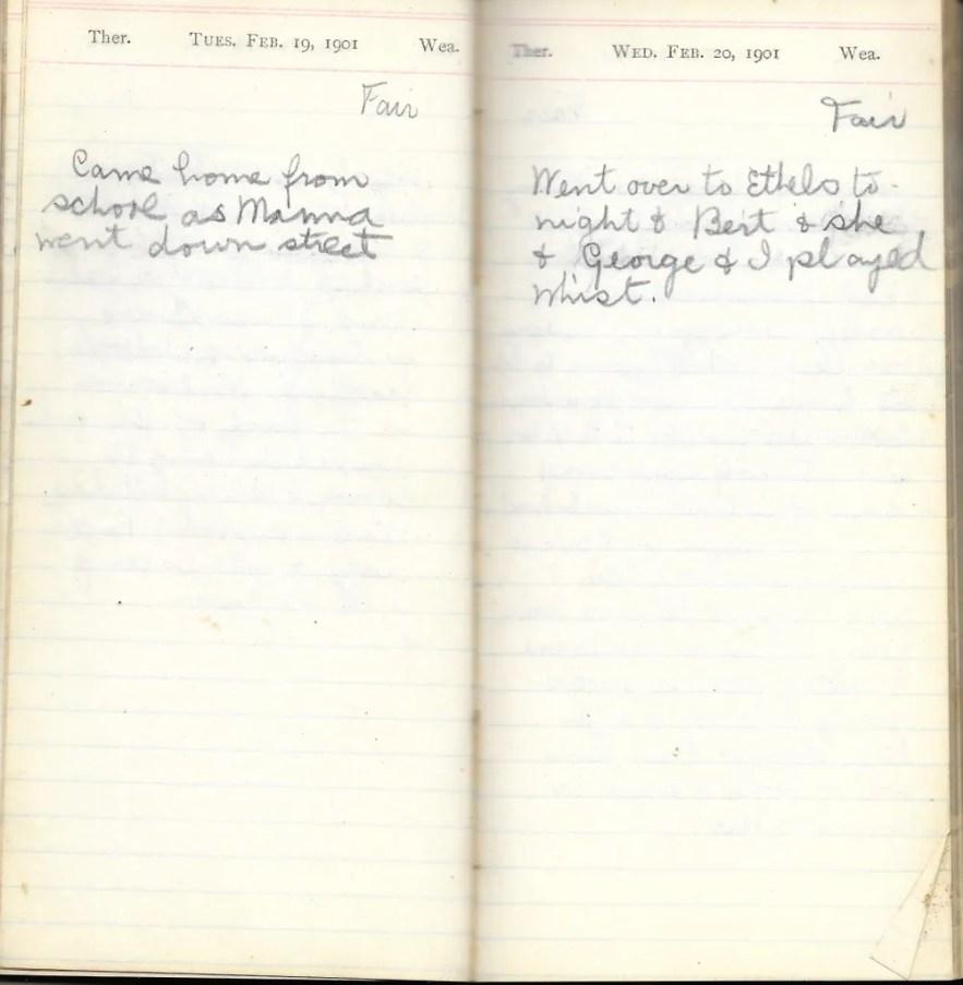 May L. Crawshaw 1901 Diary, Taunton, Bristol County, Massachusetts, 19-20 Feb 1901 entries