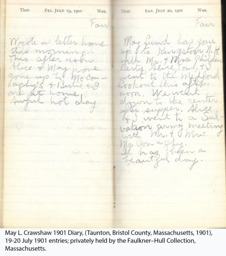 May L. Crawshaw 1901 Diary, Taunton, Bristol County, Massachusetts, 19-20 July 1901 entries