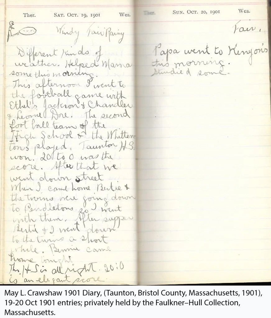 May L. Crawshaw 1901 Diary, Taunton, Bristol County, Massachusetts, 19-20 Oct 1901 entries