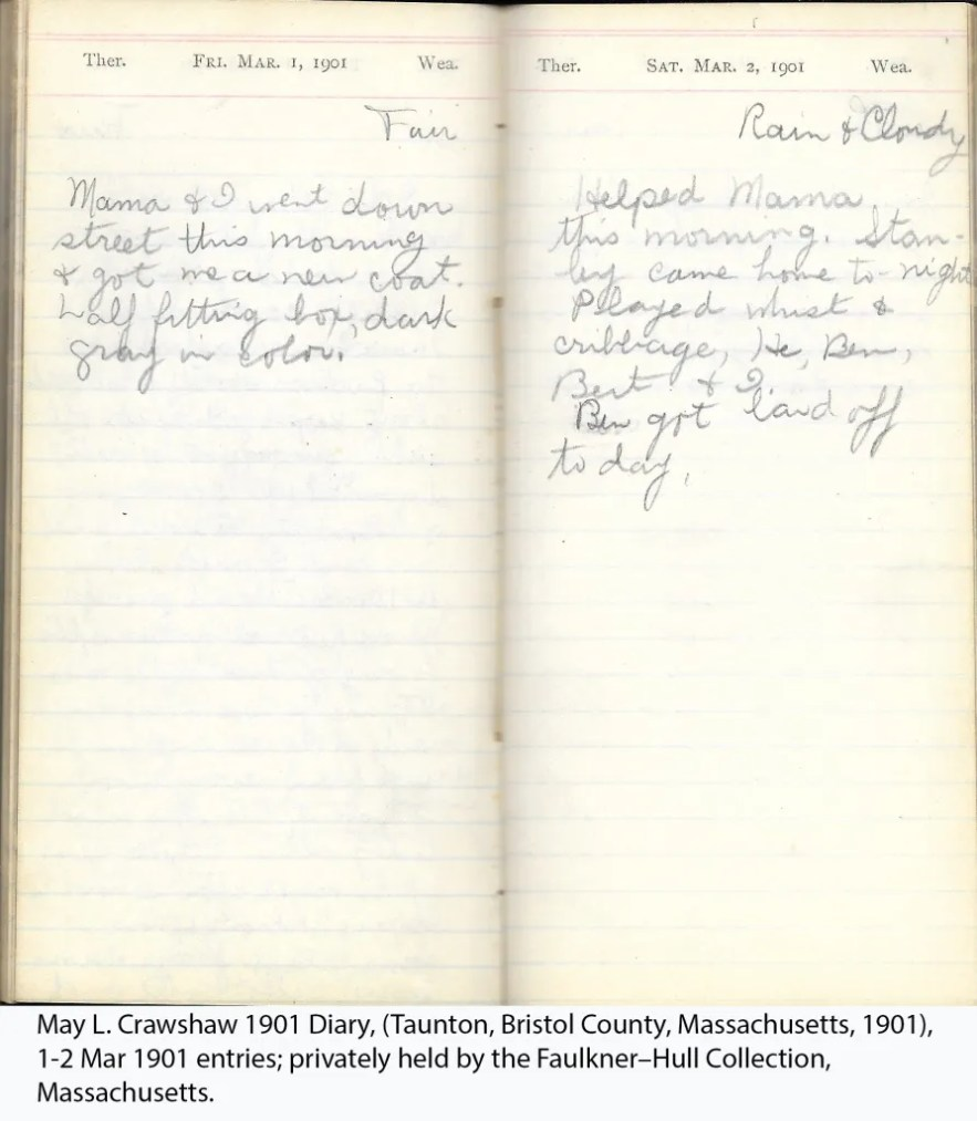 May L. Crawshaw 1901 Diary, Taunton, Bristol County, Massachusetts, 1901, 1-2 Mar 1901 entries