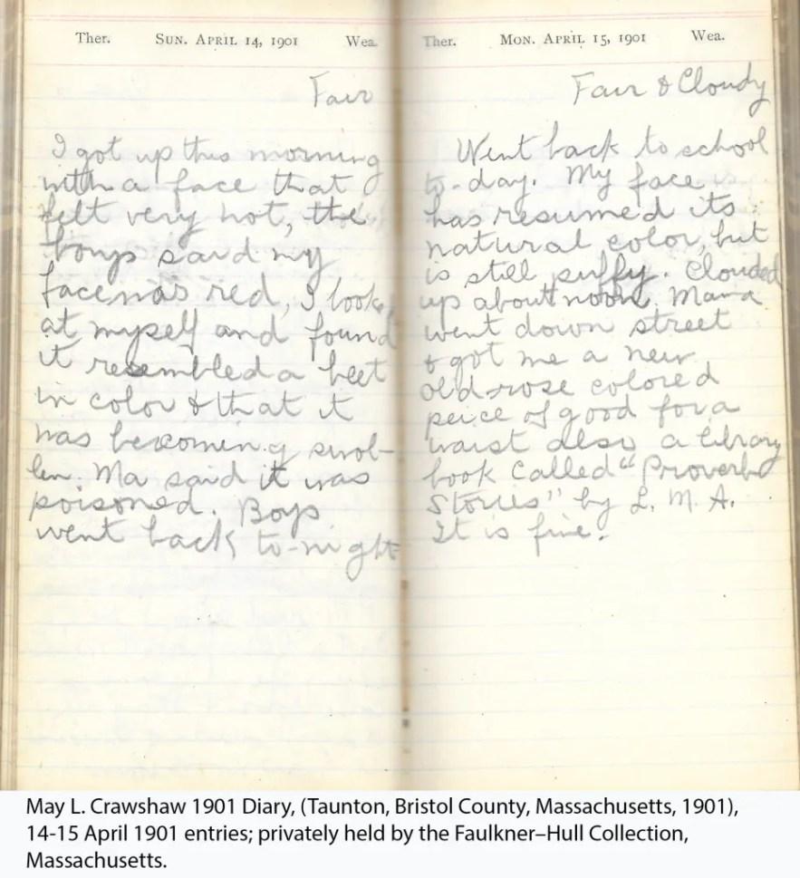 May L. Crawshaw 1901 Diary, Taunton, Bristol County, Massachusetts, 1901, 14-15 April 1901 entries