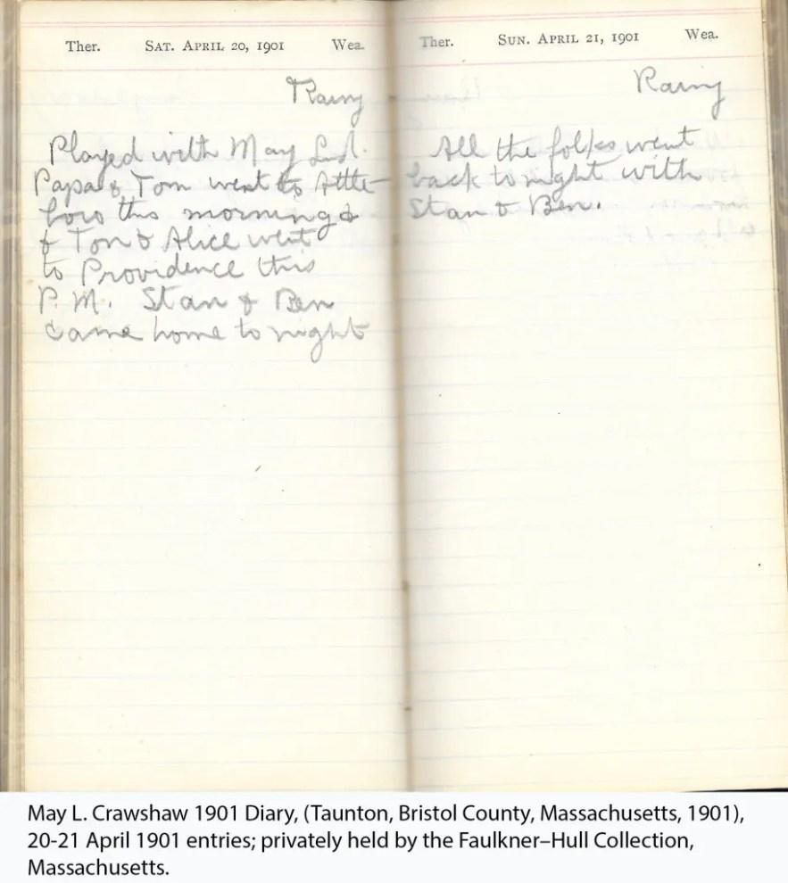 May L. Crawshaw 1901 Diary, Taunton, Bristol County, Massachusetts, 1901, 20-21 April 1901 entries
