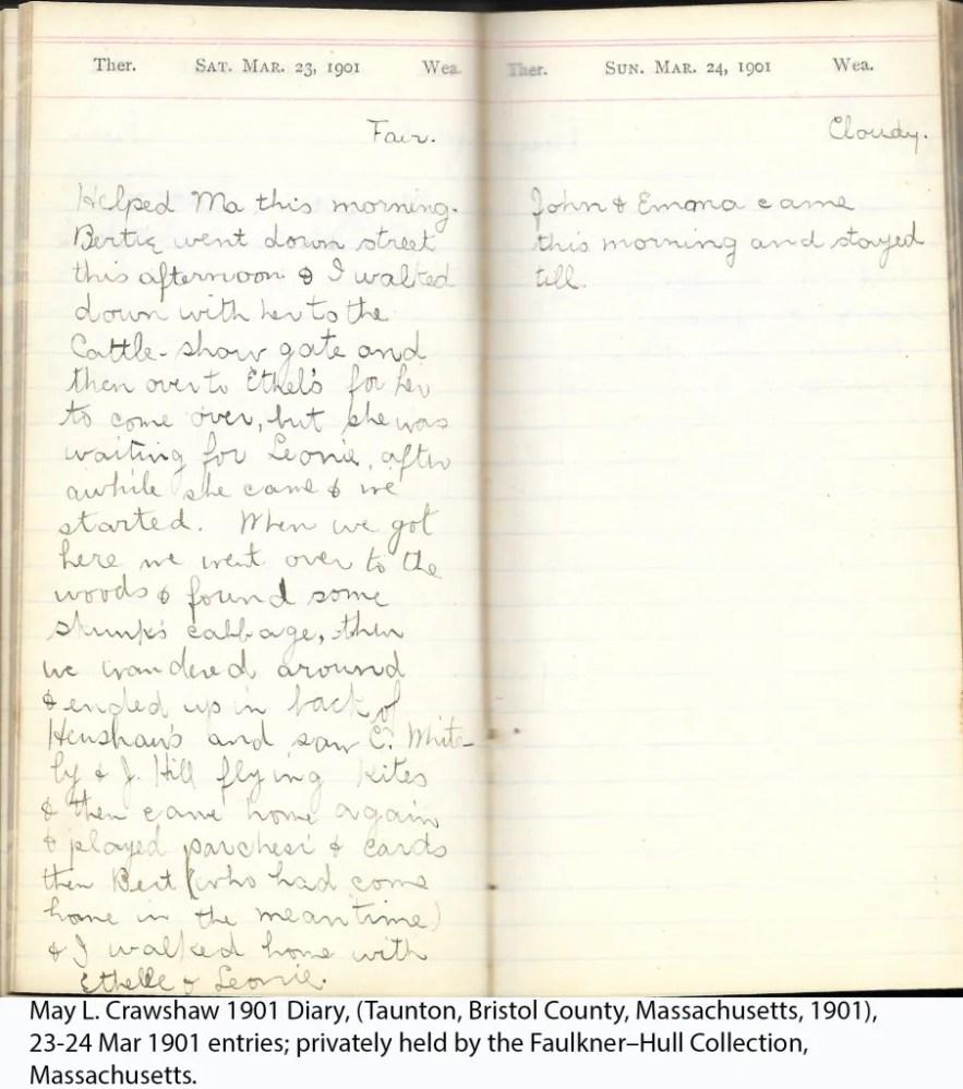 May L. Crawshaw 1901 Diary, Taunton, Bristol County, Massachusetts, 1901, 23-24 Mar 1901 entries