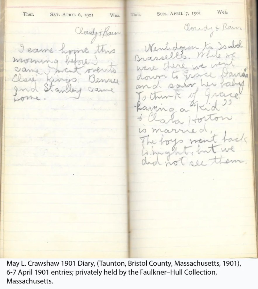May L. Crawshaw 1901 Diary, Taunton, Bristol County, Massachusetts, 1901, 6-7 April 1901 entries
