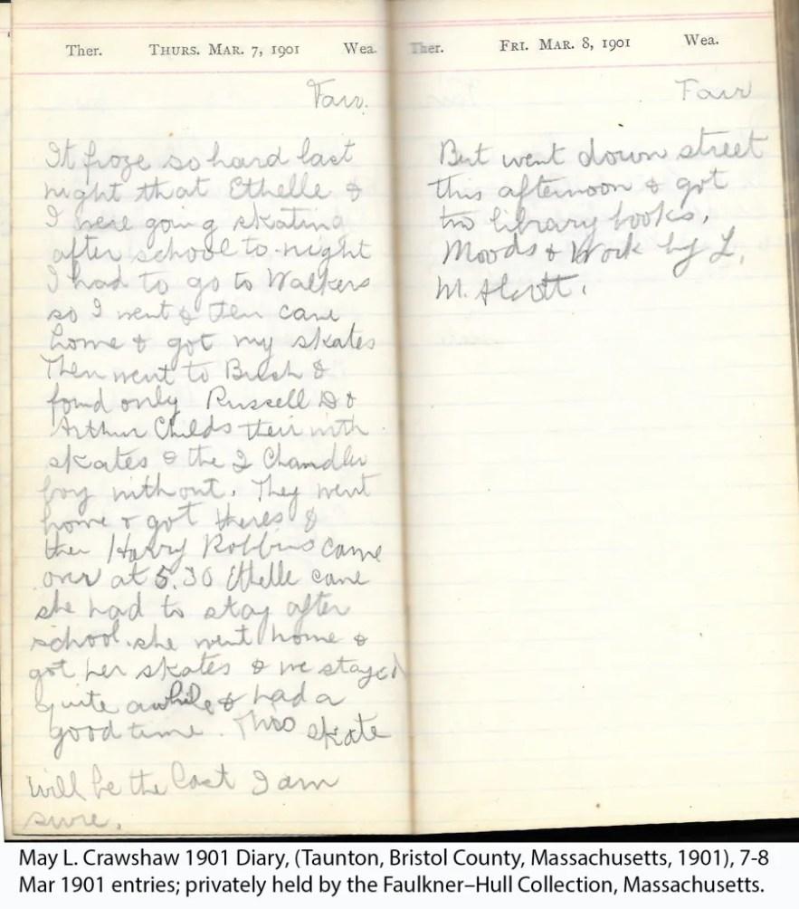May L. Crawshaw 1901 Diary, Taunton, Bristol County, Massachusetts, 1901, 7-8 Mar 1901 entries