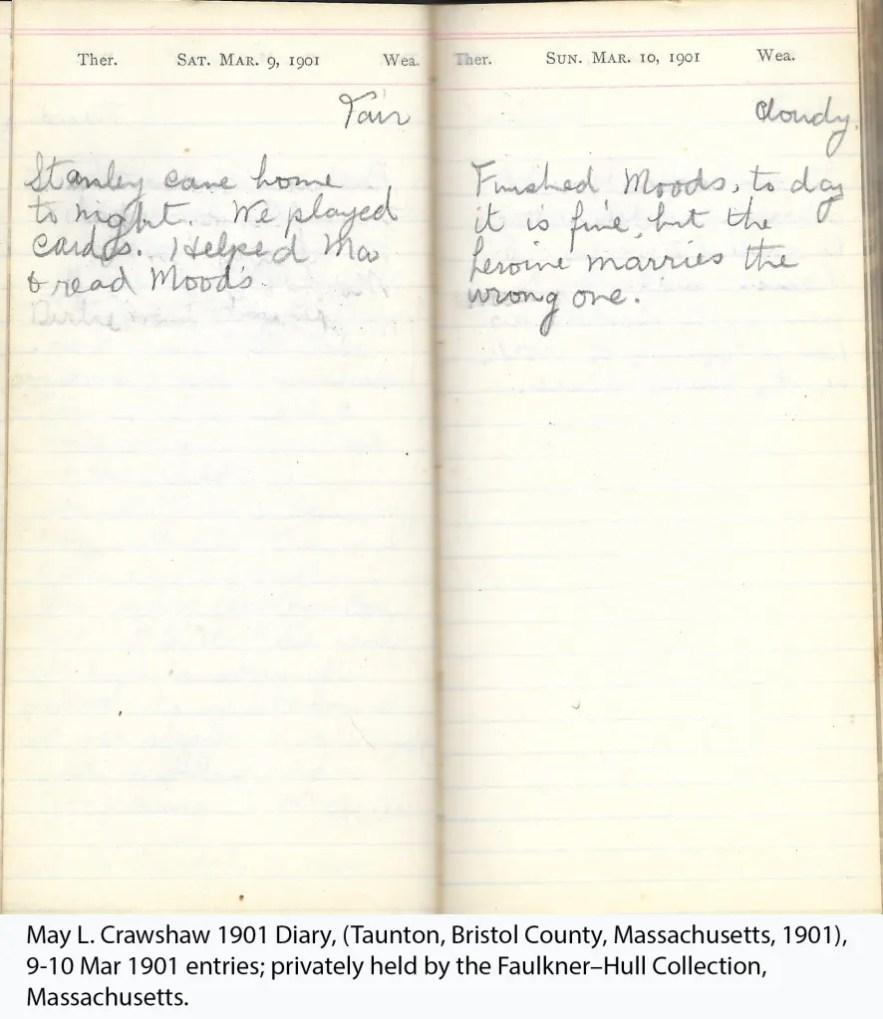 May L. Crawshaw 1901 Diary, Taunton, Bristol County, Massachusetts, 1901, 9-10 Mar 1901 entries