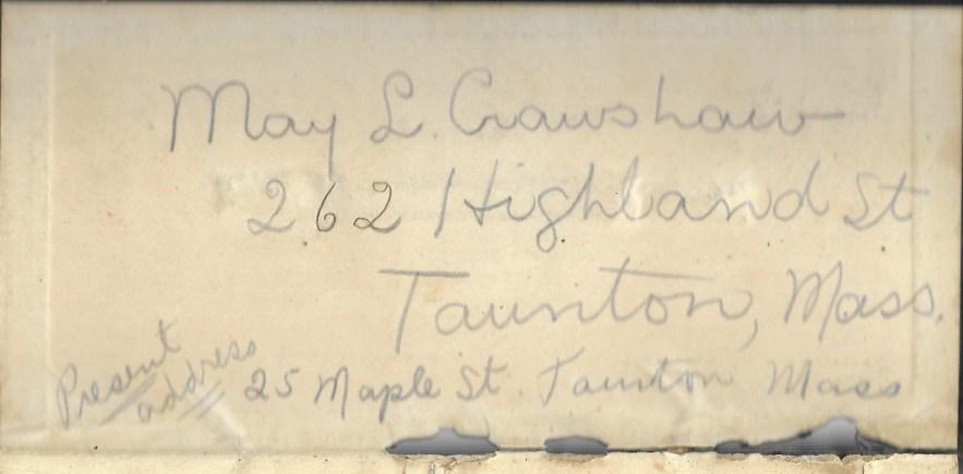 May L. Crawshaw 1901 Diary, (Taunton, Bristol County, Massachusetts, 1901), inside cover