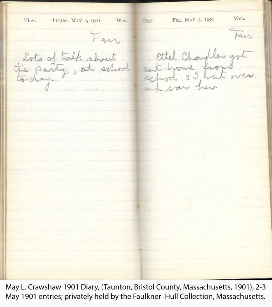 May L. Crawshaw 1901 Diary, Taunton, Bristol County, Massachusetts, 2-3 May 1901 entries