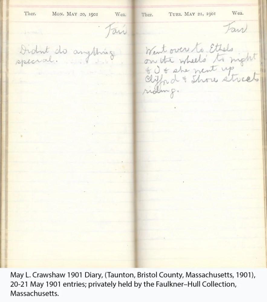 May L. Crawshaw 1901 Diary, Taunton, Bristol County, Massachusetts, 20-21 May 1901 entries