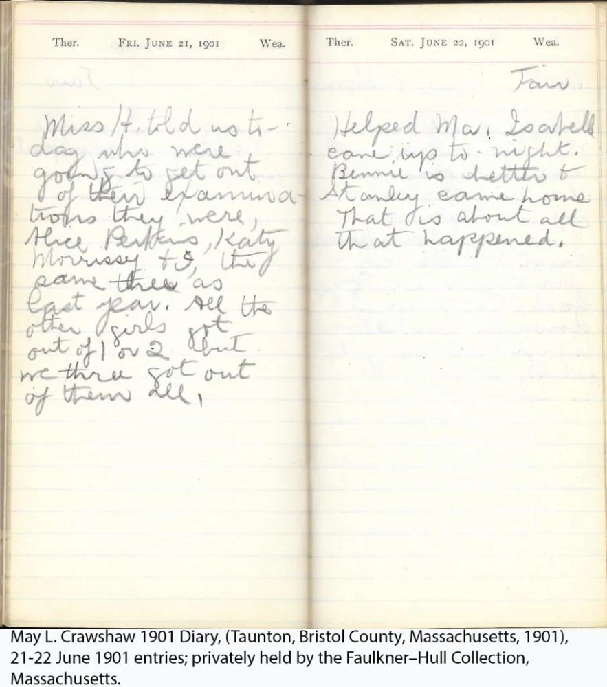 May L. Crawshaw 1901 Diary, Taunton, Bristol County, Massachusetts, 21-22 June 1901 entries