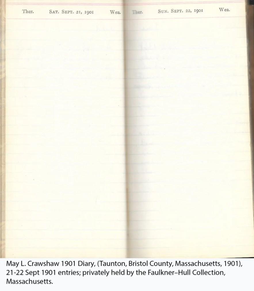 May L. Crawshaw 1901 Diary, Taunton, Bristol County, Massachusetts, 21-22 Sept 1901 entries