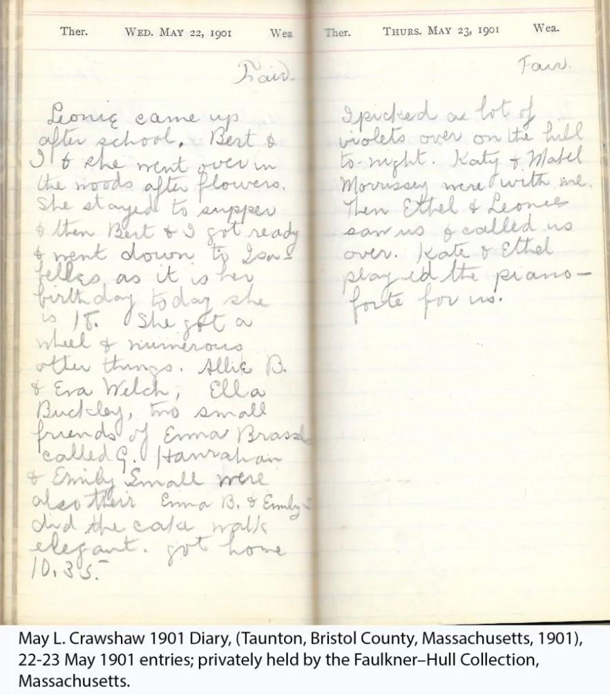 May L. Crawshaw 1901 Diary, Taunton, Bristol County, Massachusetts, 22-23 May 1901 entries