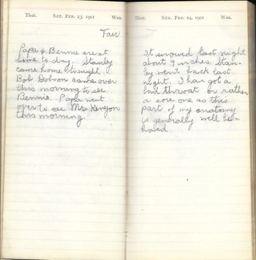 May L. Crawshaw 1901 Diary, Taunton, Bristol County, Massachusetts, 23-24 Feb 1901 entries