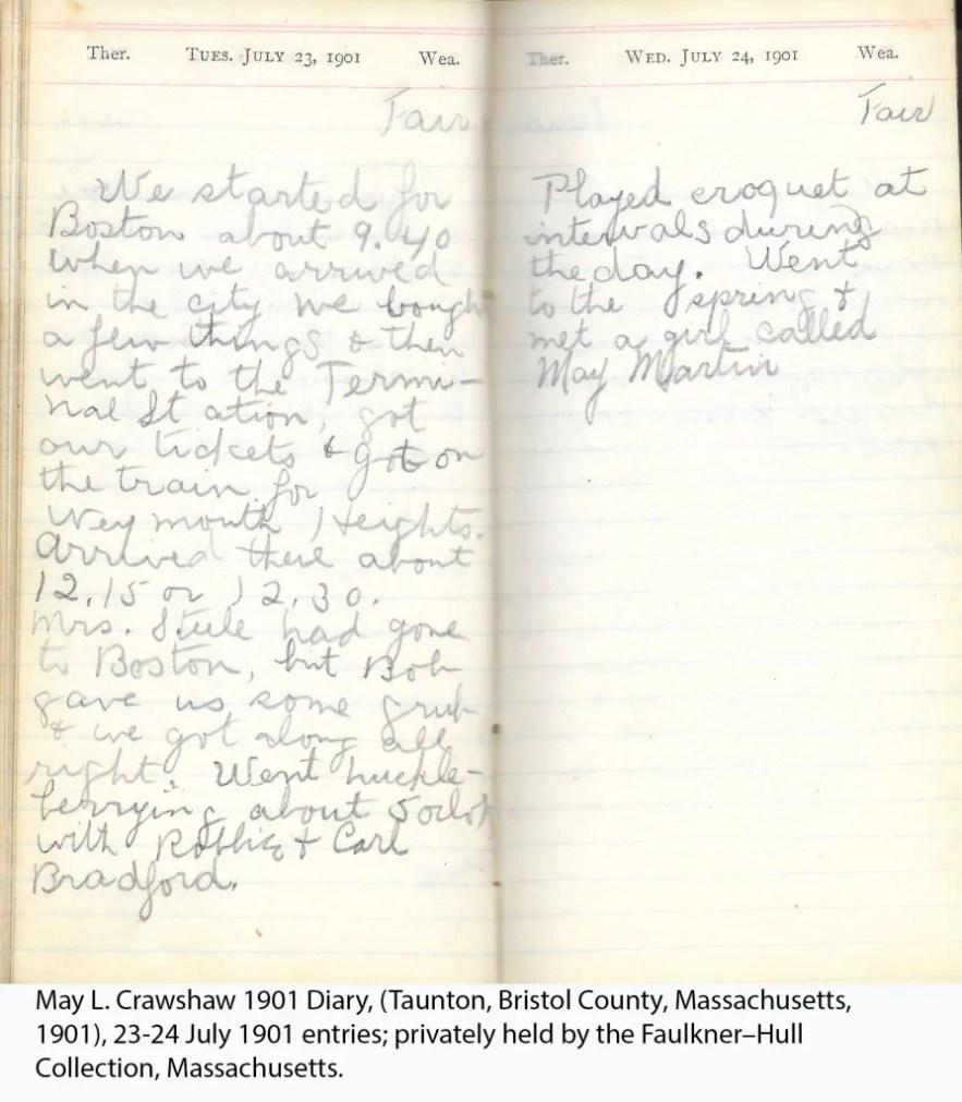 May L. Crawshaw 1901 Diary, Taunton, Bristol County, Massachusetts, 23-24 July 1901 entries