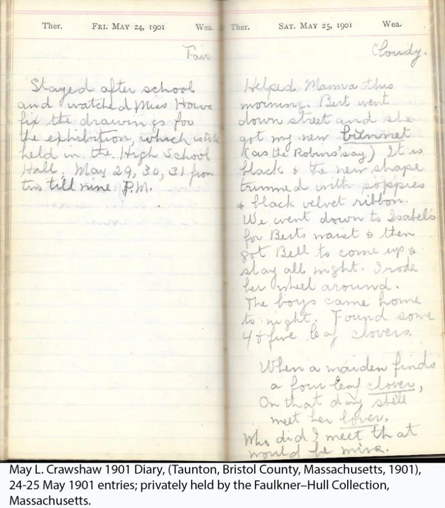 May L. Crawshaw 1901 Diary, Taunton, Bristol County, Massachusetts, 24-25 May 1901 entries