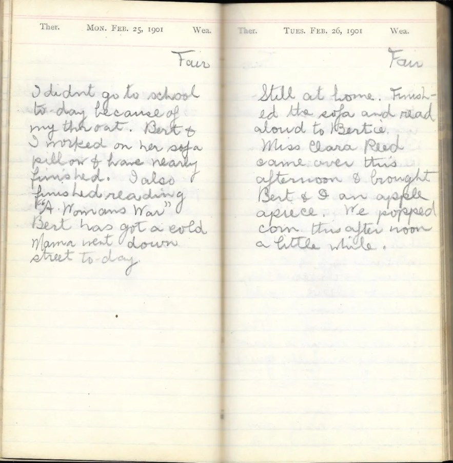 May L. Crawshaw 1901 Diary, Taunton, Bristol County, Massachusetts, 25-26 Feb 1901 entries