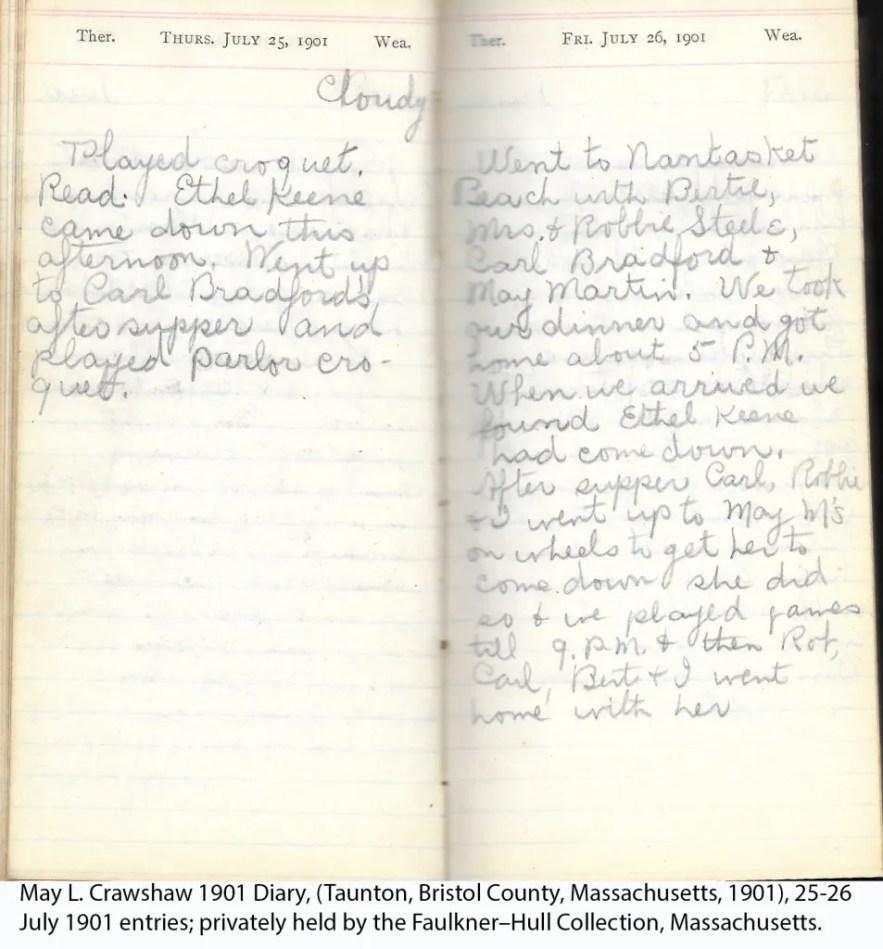 May L. Crawshaw 1901 Diary, Taunton, Bristol County, Massachusetts, 25-26 July 1901 entries