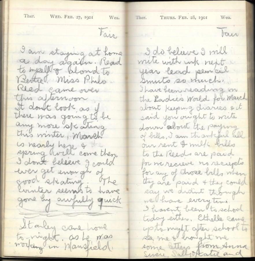 May L. Crawshaw 1901 Diary, Taunton, Bristol County, Massachusetts, 27-28 Feb 1901 entries