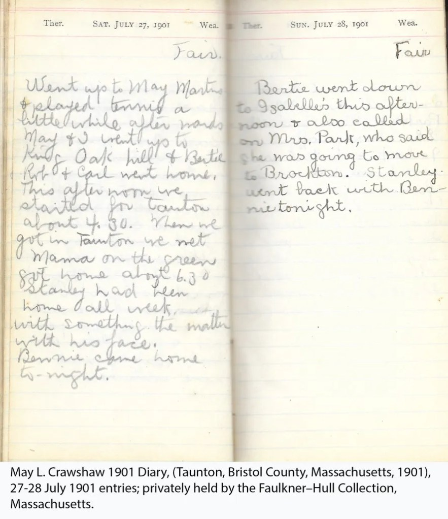 May L. Crawshaw 1901 Diary, Taunton, Bristol County, Massachusetts, 27-28 July 1901 entries