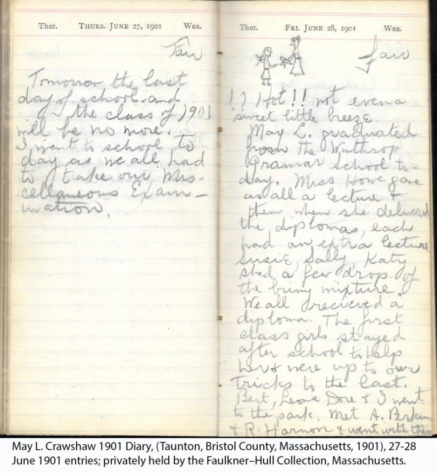 May L. Crawshaw 1901 Diary, Taunton, Bristol County, Massachusetts, 27-28 June 1901 entries