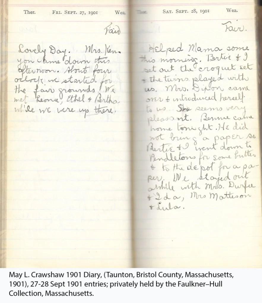 May L. Crawshaw 1901 Diary, Taunton, Bristol County, Massachusetts, 27-28 Sept 1901 entries