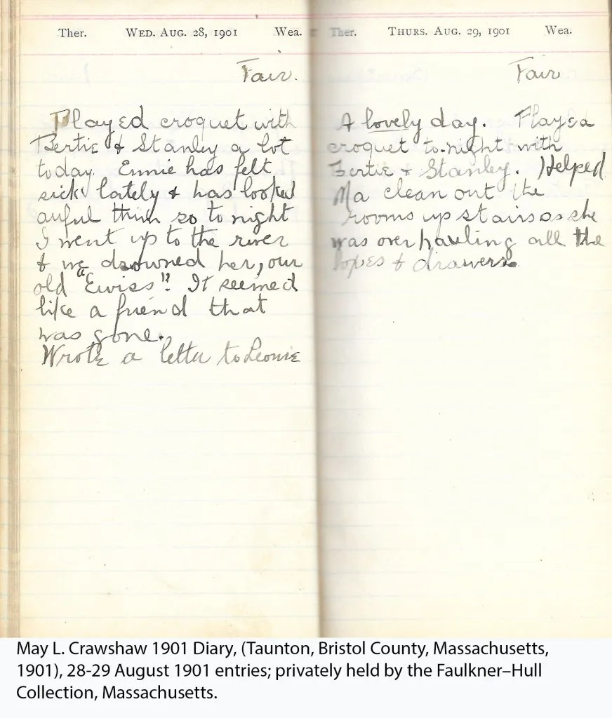 May L. Crawshaw 1901 Diary, Taunton, Bristol County, Massachusetts, 28-29 Aug 1901 entries