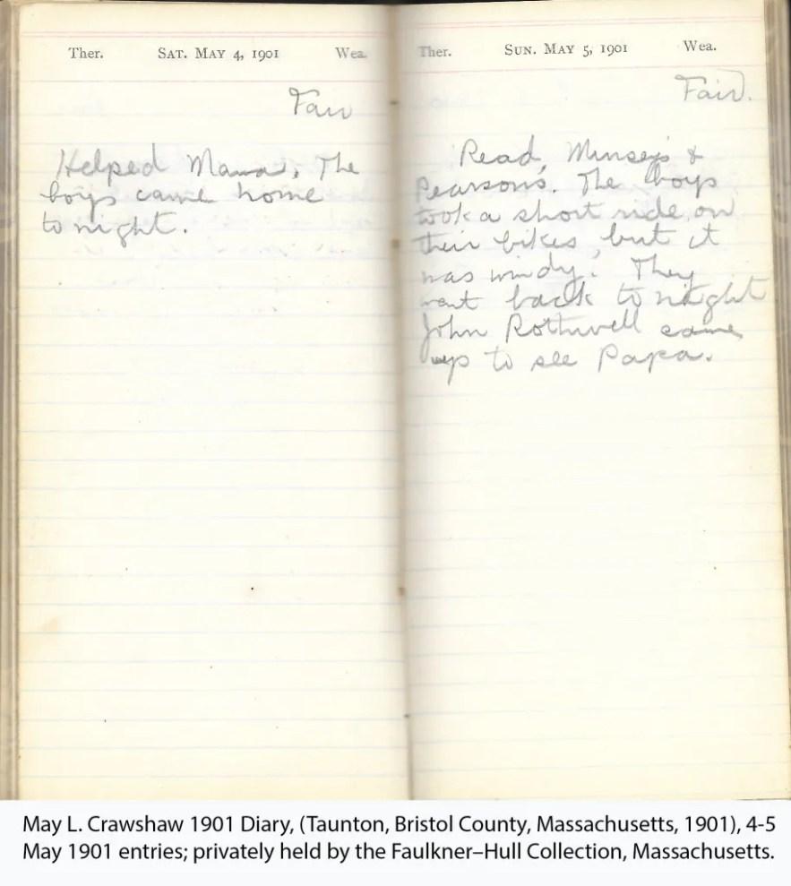 May L. Crawshaw 1901 Diary, Taunton, Bristol County, Massachusetts, 4-5 May 1901 entries