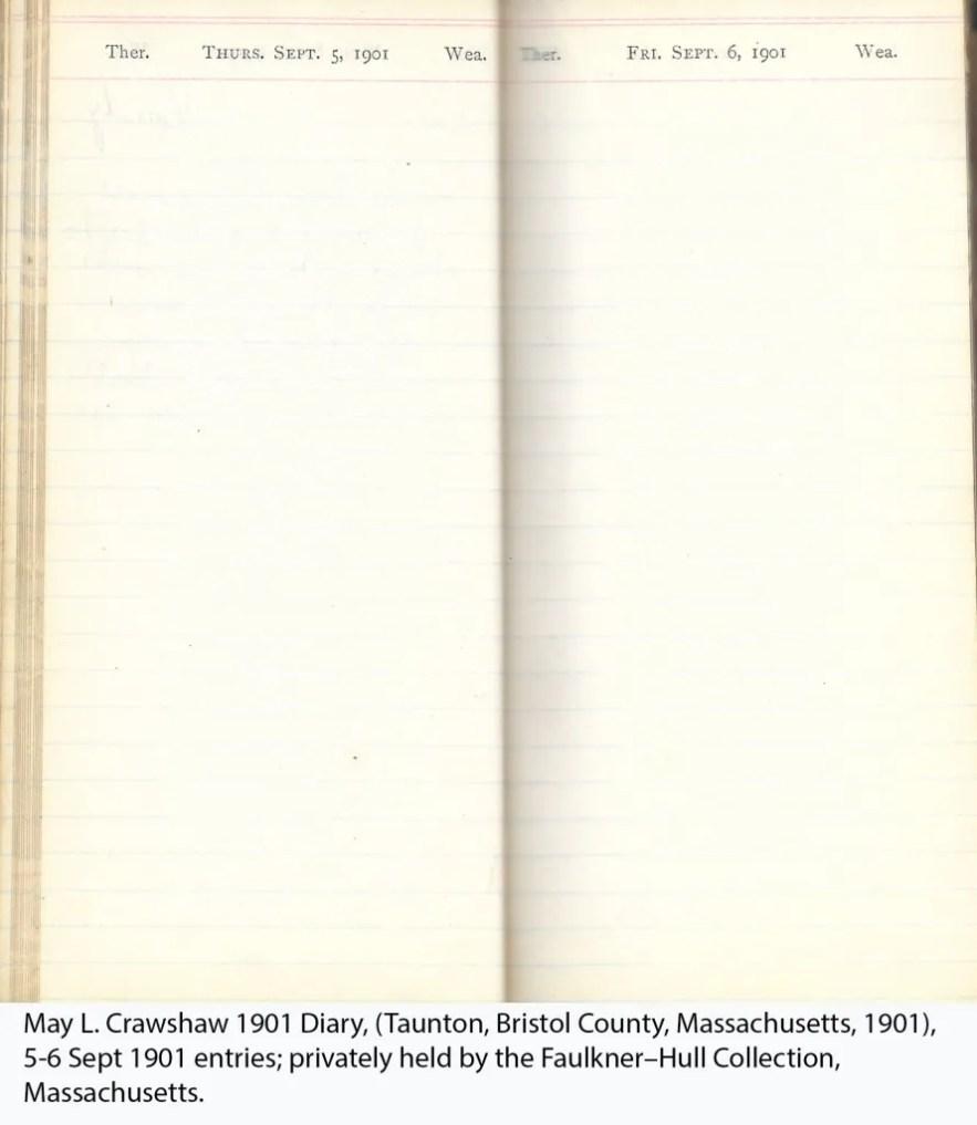 May L. Crawshaw 1901 Diary, Taunton, Bristol County, Massachusetts, 5-6 Sept 1901 entries