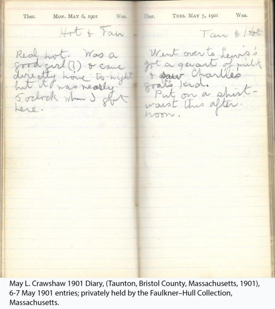 May L. Crawshaw 1901 Diary, Taunton, Bristol County, Massachusetts, 6-7 May 1901 entries