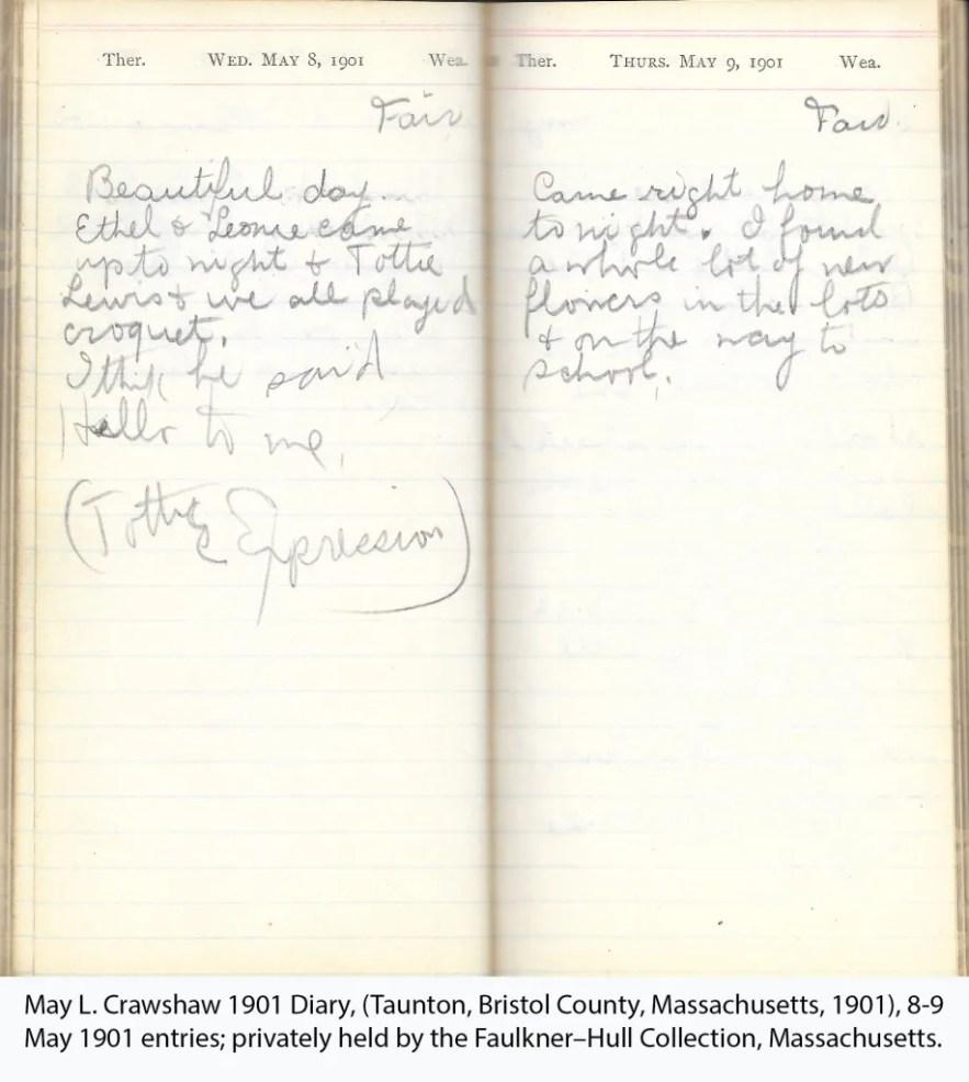 May L. Crawshaw 1901 Diary, Taunton, Bristol County, Massachusetts, 8-9 May 1901 entries