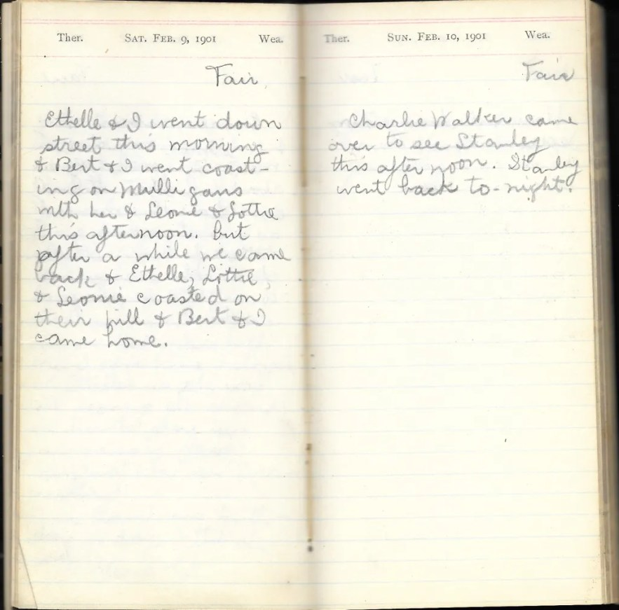 May L. Crawshaw 1901 Diary, Taunton, Bristol County, Massachusetts, 9-10 Feb 1901 entries