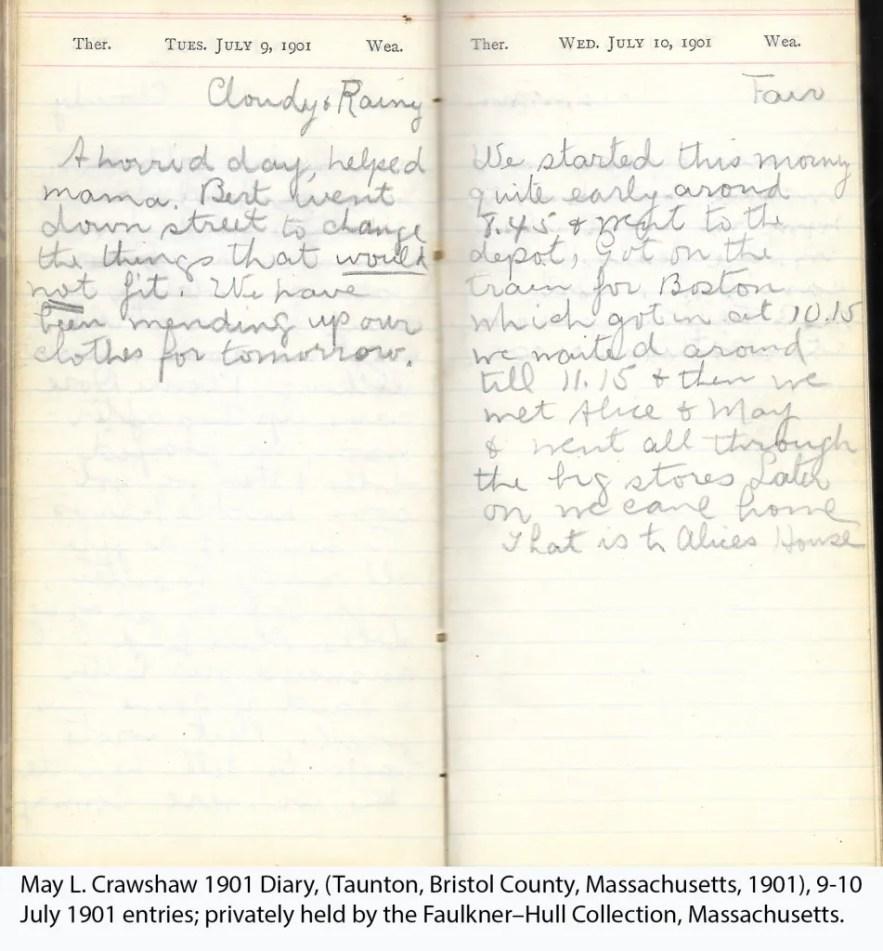 May L. Crawshaw 1901 Diary, Taunton, Bristol County, Massachusetts, 9-10 July 1901 entries