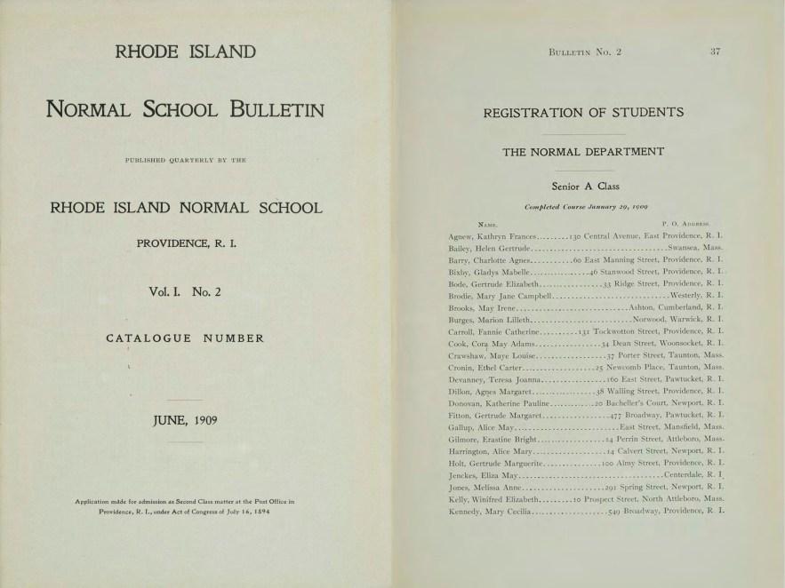 "Rhode Island College, ""Rhode Island Normal School Catalog, 1909"" (Providence, Rhode, Island, 1909), p. 37, Maye Louise Crawshaw."