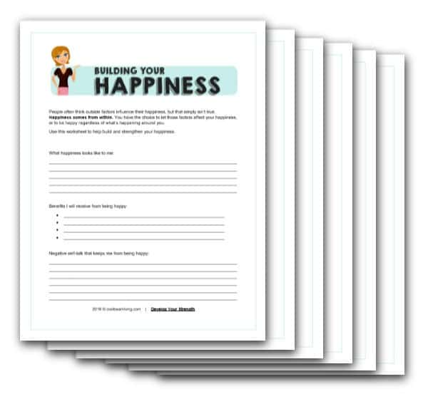 Free worksheet on building up your happiness