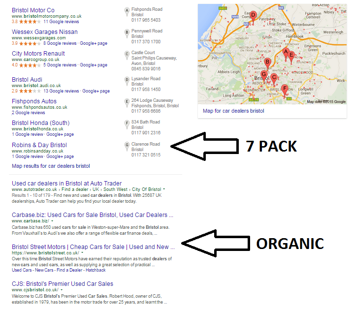 7 pack and organic search results