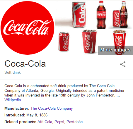 the Cokacola brand in Google search results image
