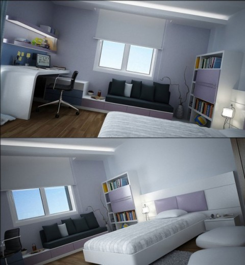 Modern Teen Bedroom Designs with Integrated Study Room Modifications2