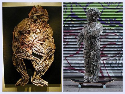 Artistic Newspaper Sculpture With Imaginatively Features3