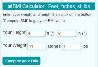 BMI 5 ft 2 inches 8 stones 3 lb